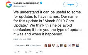 Google's tweet over seo update