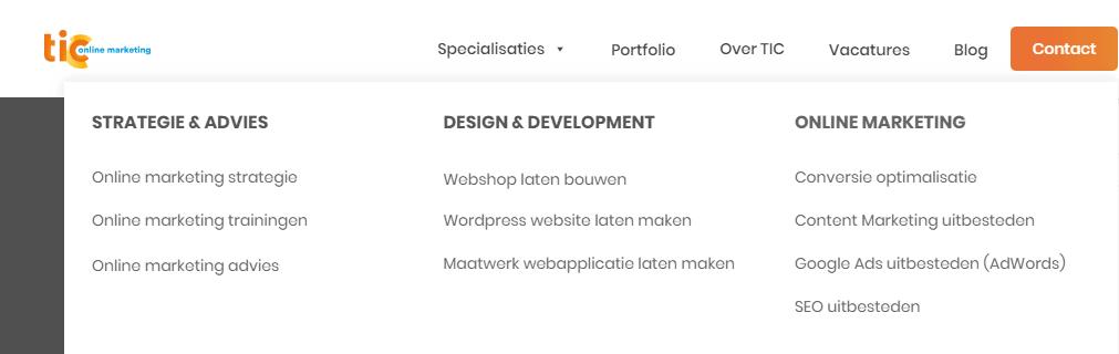 Duidelijke navigatiestructuur op de website van TIC Online Marketing.