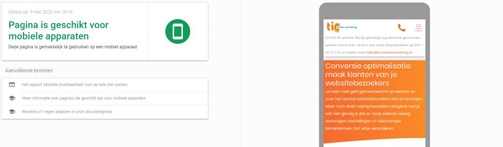 Test mobielvriendelijke website